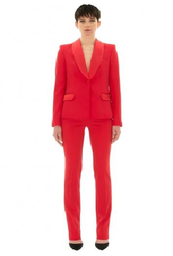 Stefanie Renoma-TUXEDO JACKET IN RED CREPE-Silkarmour-2