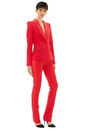 Stefanie Renoma-TUXEDO PANTS IN RED CREPE-Silkarmour-5