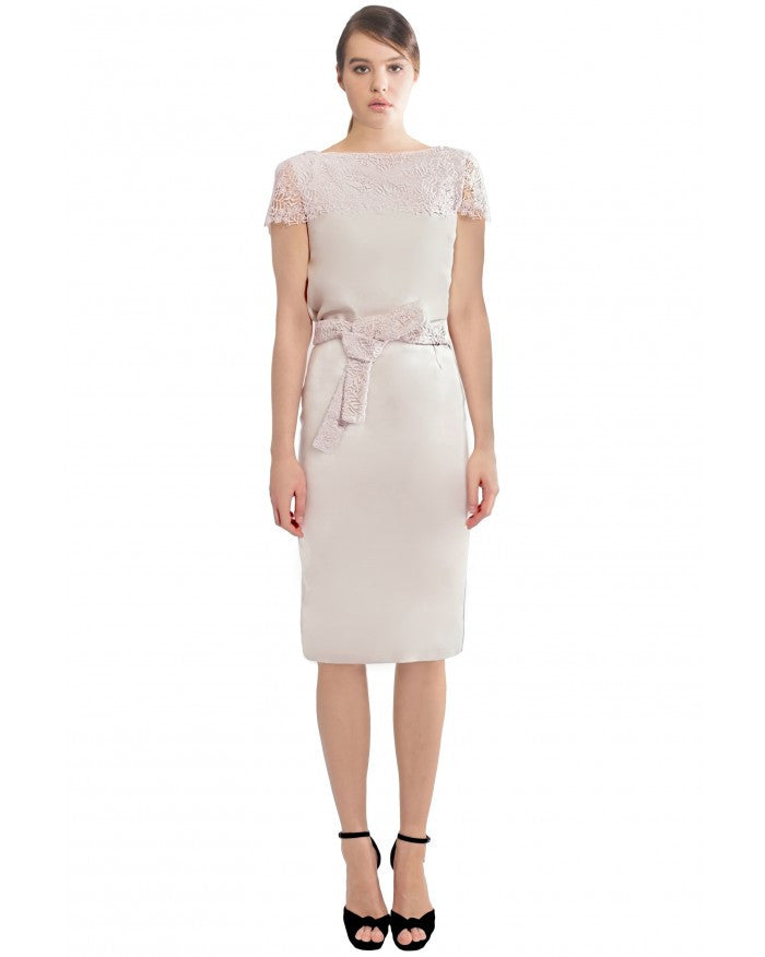 Liza Veta-PENCIL SKIRT WITH LACE BELT-Silkarmour-1