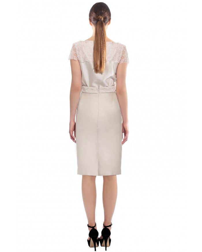Liza Veta-PENCIL SKIRT WITH LACE BELT-Silkarmour-3