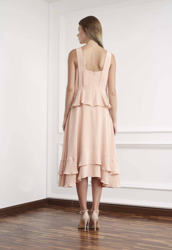 Viktoria Chan- Amy Silk Flounce Dress- Silkarmour-4