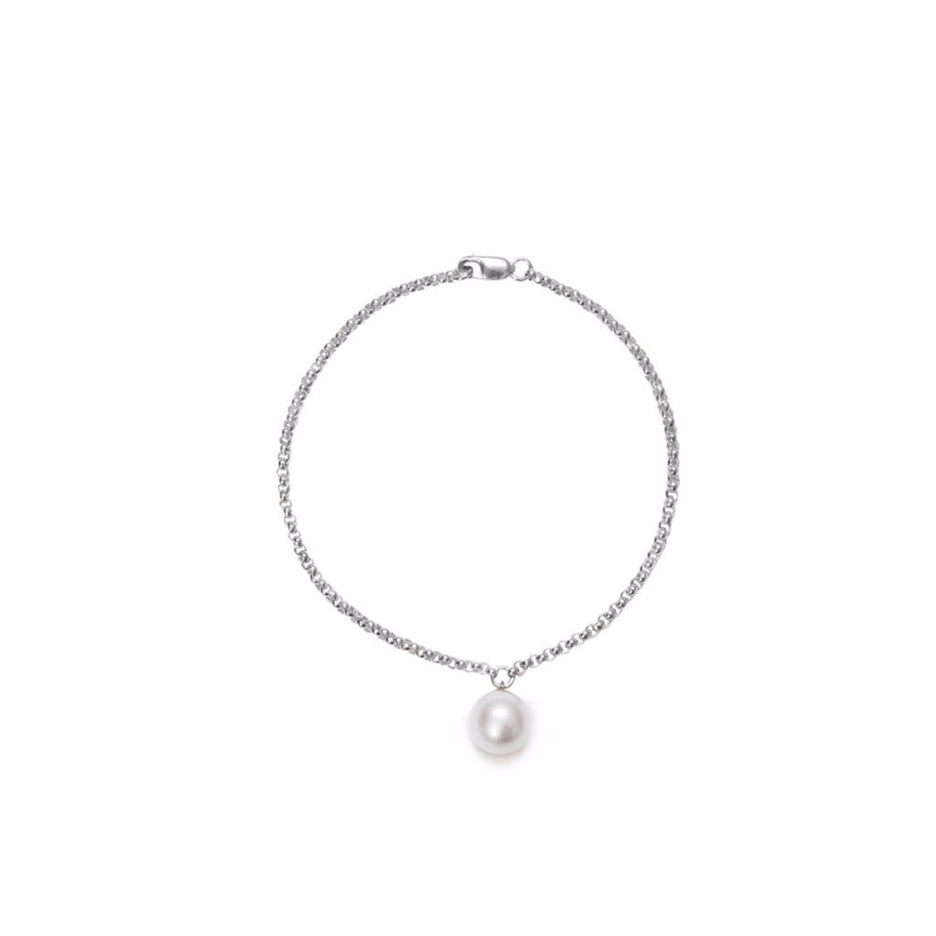 ORA PEARLS - DESIGNER JEWELLERY LONDON - WHITE PEARL CHARM BRACELET - SILKARMOUR - 1
