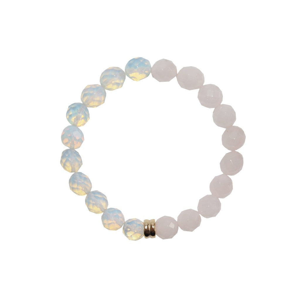 ORA PEARLS - ORBIS OPAL & ROSE QUARTZ BRACELET - SILKARMOUR LONDON
