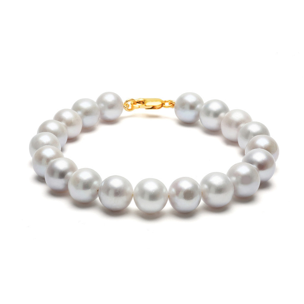 ORA PEARLS _ CLASSIC DESIGNER JEWELLERY LONDON - GREY STRUNG BRACELET - SILKARMOUR - GOLD