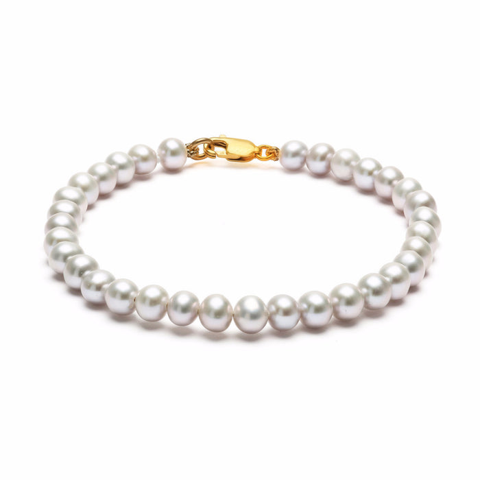 ORA PEARLS _ CLASSIC DESIGNER JEWELLERY LONDON - GREY STRUNG BRACELET - SILKARMOUR - 1