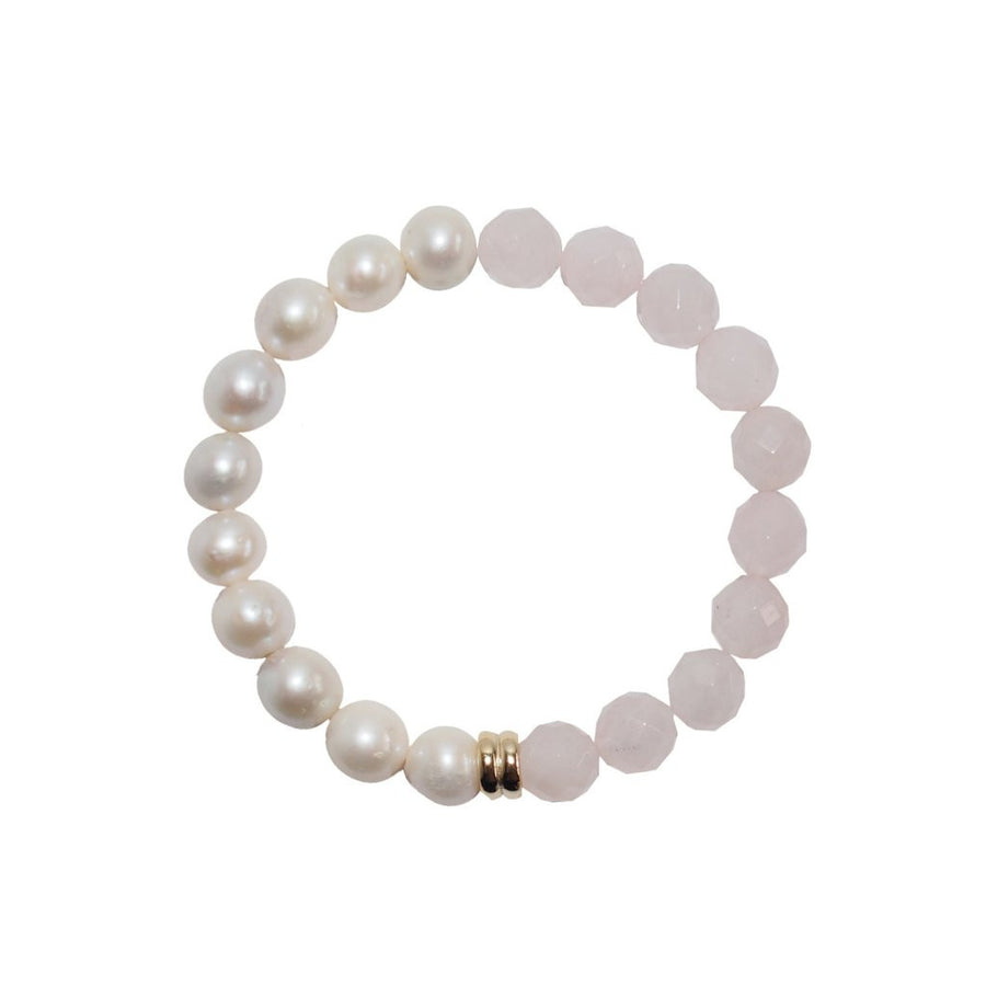 ORA PEARLS - ORBIS PEARL & ROSE QUARTZ BRACELET - SILKARMOUR LONDON