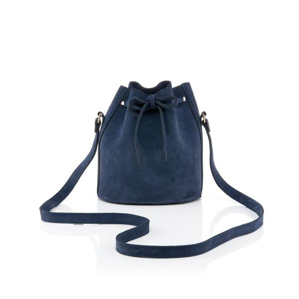 Baia-Mini Drawstring in navy suede-Silkarmour-1