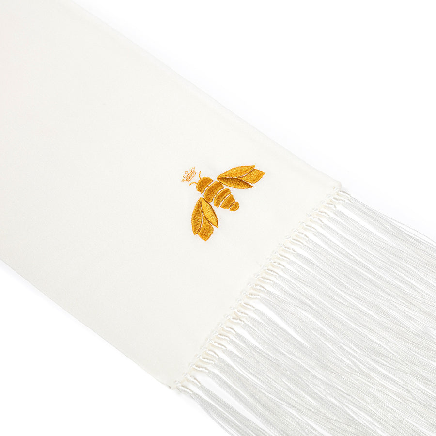 BEATRICE JENKINS-LUXURY SILK SCARVES-LUX-BEE IVORY-SILKARMOUR-1