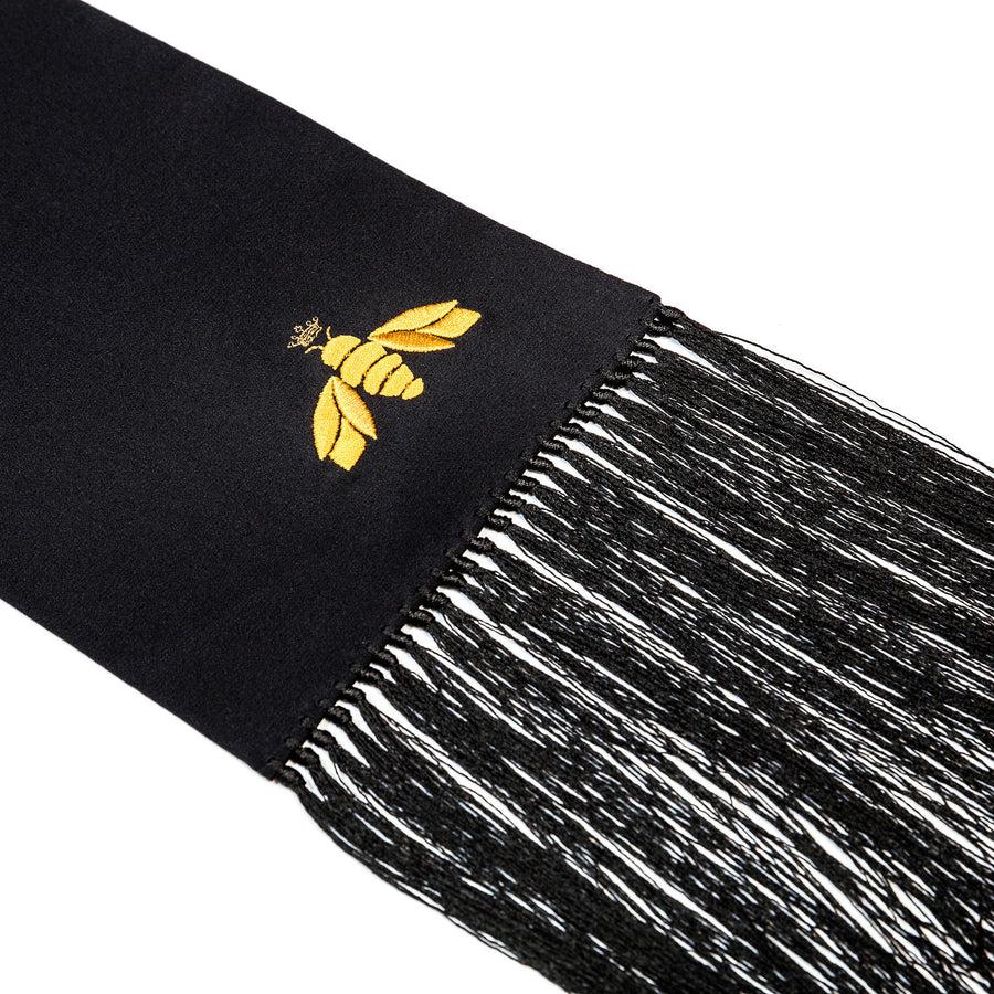 BEATRICE JENKINS-LUXURY SILK SCARVES-LUX-BEE BLACK-SILKARMOUR-1