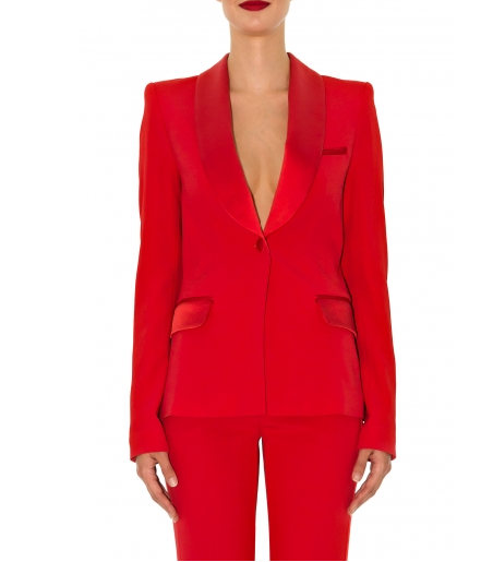 Stefanie Renoma-TUXEDO JACKET IN RED CREPE-Silkarmour-6