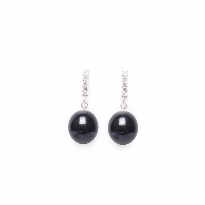 ORA PEARLS - LUXURY DESIGNER JEWELLERY  - BLACK CZ DROP EARRINGS - SILKARMOUR - 1