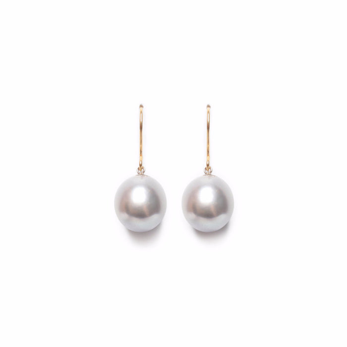 ORA PEARLS - DESIGNER JEWELLERY - GREY DROP EARRINGS - SILKARMOUR - 1