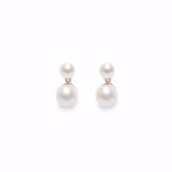 ORA PEARLS - LUXURY DESIGNER JEWELLERY - WHITE DOUBLE PEARL EARRINGS - SILKARMOUR