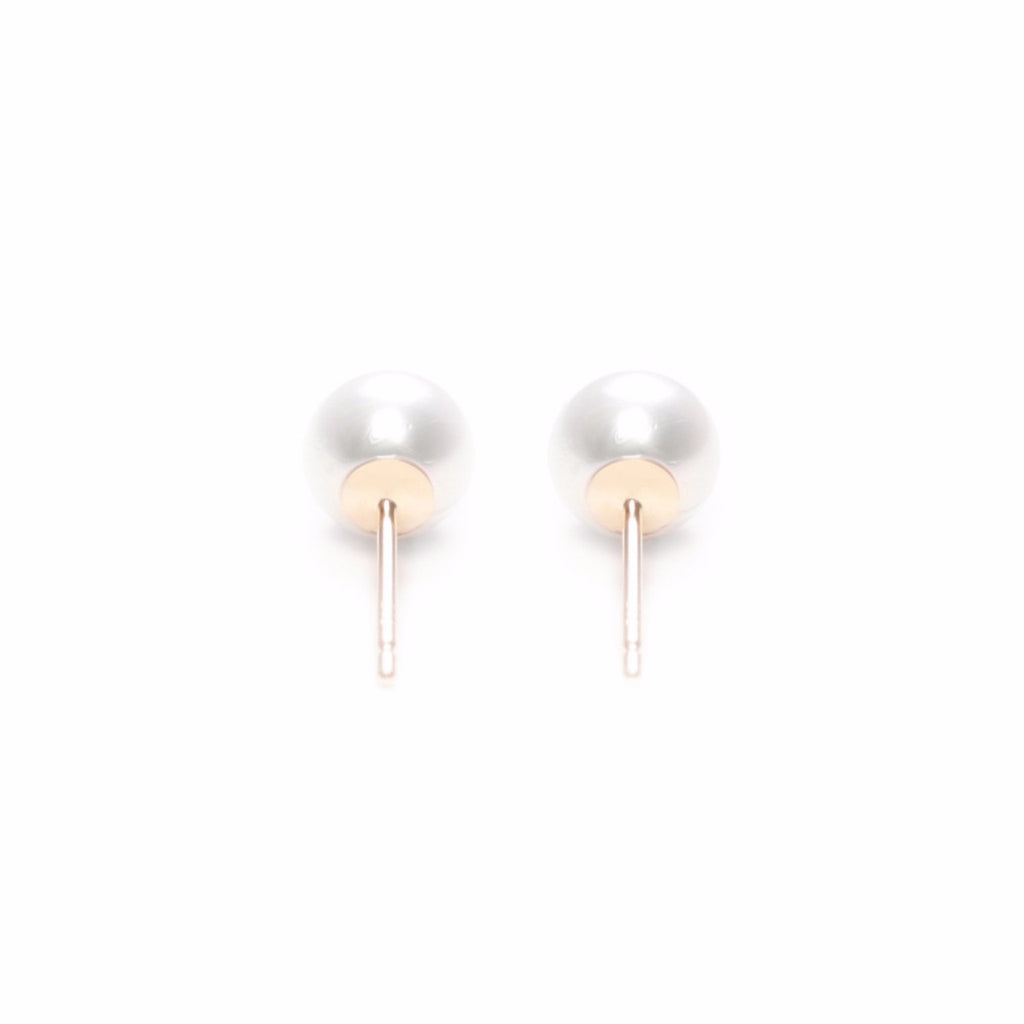 ORA PEARLS - DESIGNER JEWELLERY - WHITE STUD EARRINGS - SILKARMOUR - 1