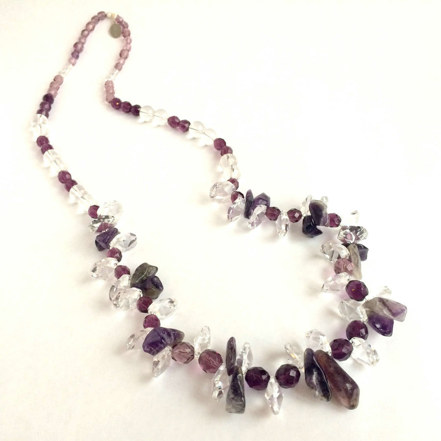 Helou designs - luxury jewellery - AMETHYST STONE AND CRYSTAL PENDANTS NECKLACE - SILKARMOUR - 1