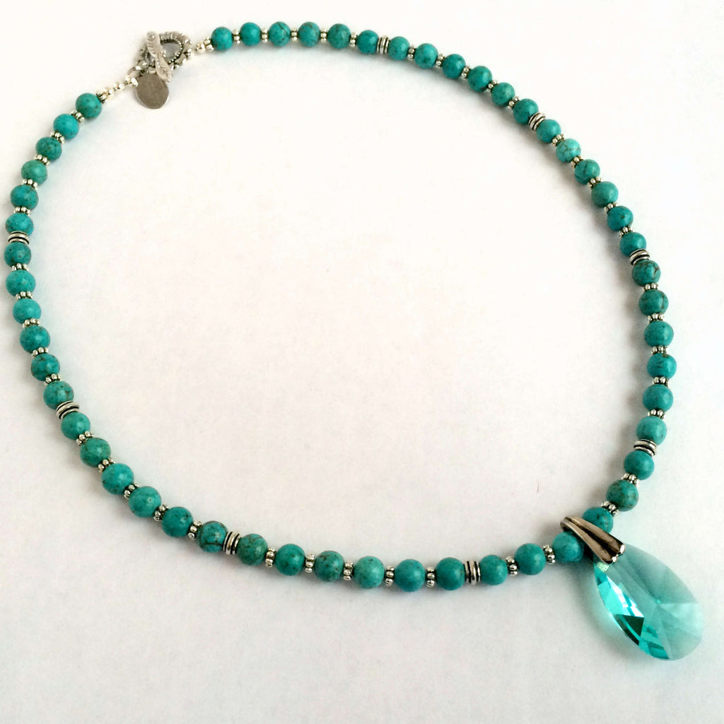 MAGNESITE STONE, SILVER AND CRYSTALS NECKLACE - SILKARMOUR  - 3