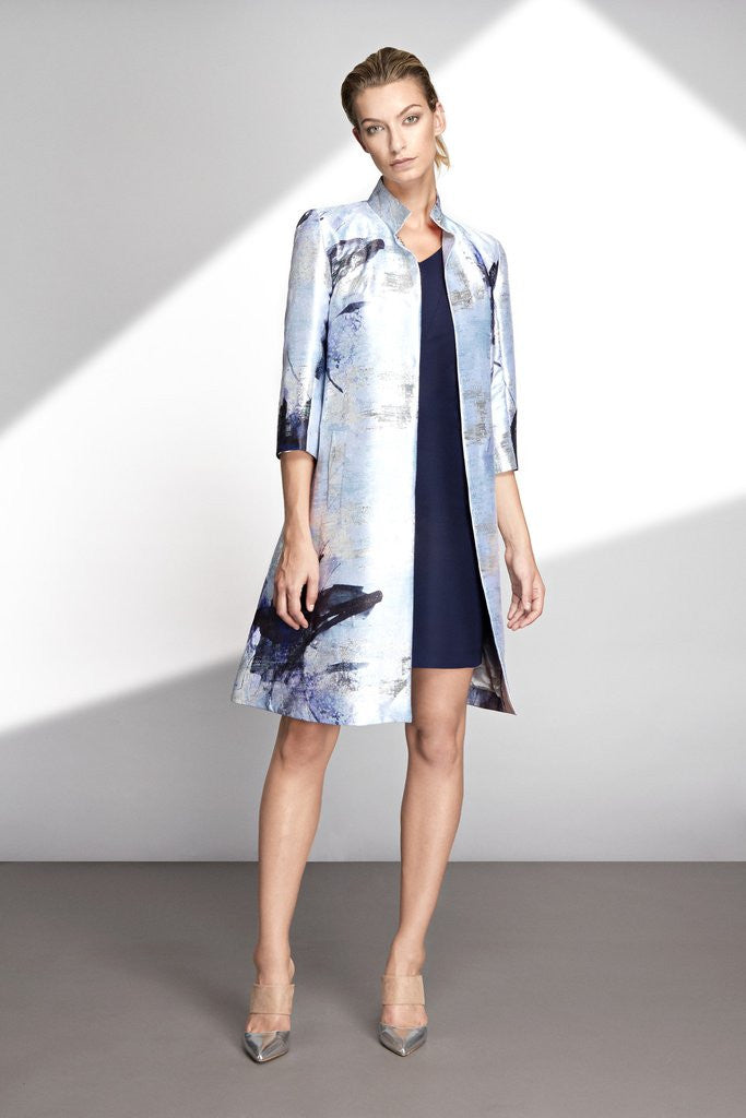 Hemyca London-Mary Lurex Jacquard Coat-Silkarmour-2