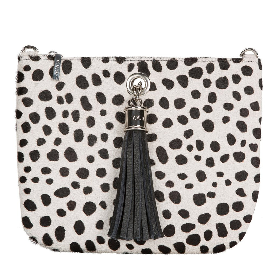 VVA-IVY BLACK/WHITE SPOT LEATHER POUCH HANDBAG-SILKARMOUR-1