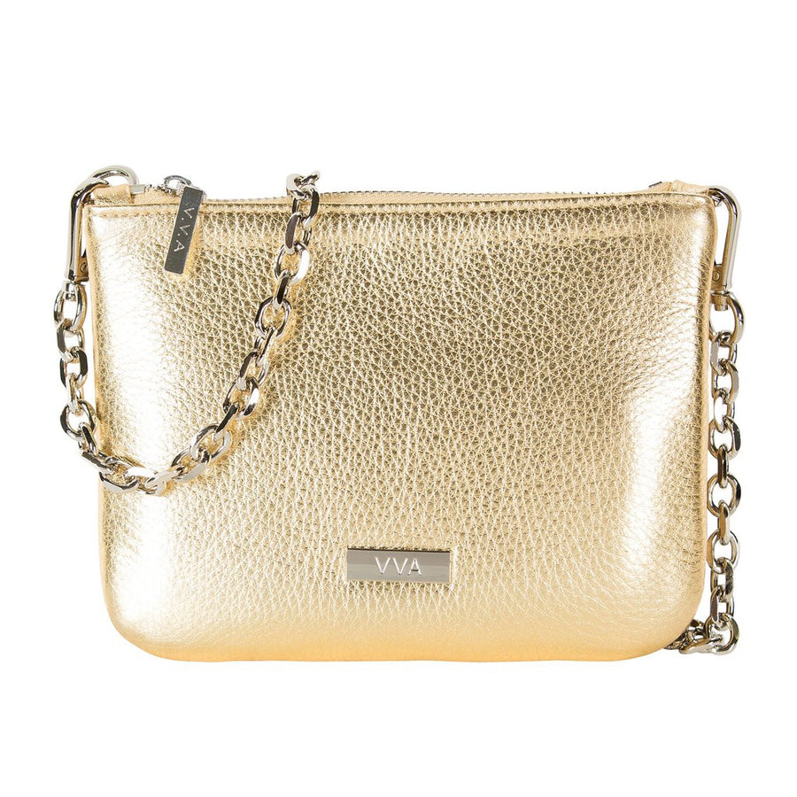 VVA-LILY GOLD LEATHER POUCH HANDBAG-SILKARMOUR-1