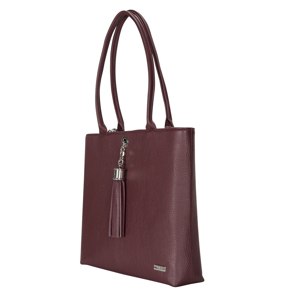 ASTER MAROON LEATHER SHOULDER HANDBAG