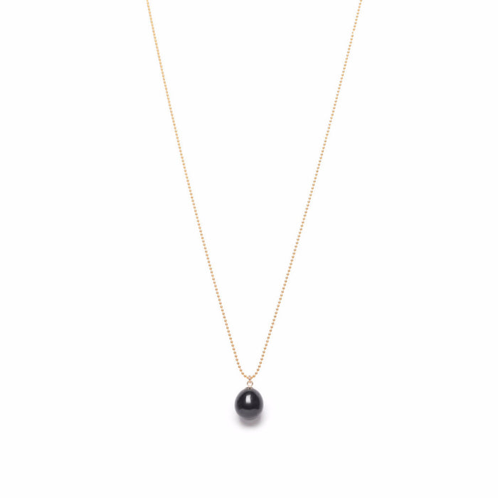 ORA PEARLS - LUXURY DESIGNER JEWELLERY - BLACK DROP PEARL PENDANT - SILKARMOUR - 1