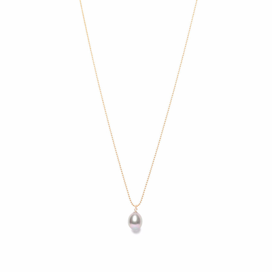ORA PEARLS - DESIGNER JEWELLERY IN GOLD AND SILVER - GREY DROP PEARL PENDANT - SILKARMOUR - 1