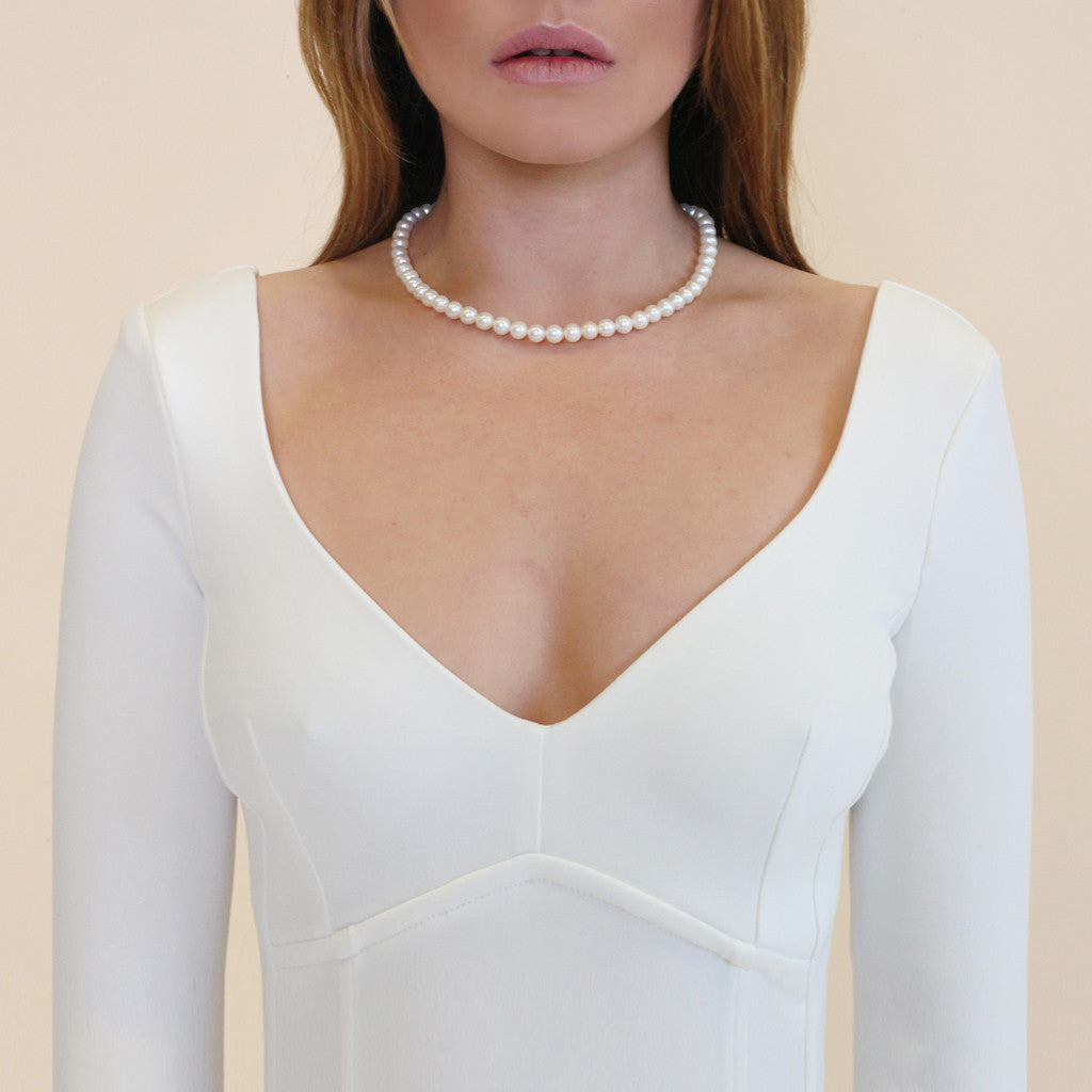 ORA PEARLS - LUXURY DESIGNER JEWELLERY - WHITE STRUNG NECKLACE - SILKARMOUR - 1