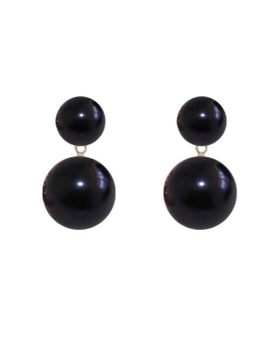 DUET PEARL EARRINGS- Black
