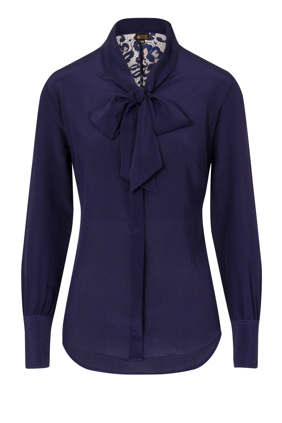 Sophie Cameron Davis-Bow Blouse Midnight- Silkarmour-1
