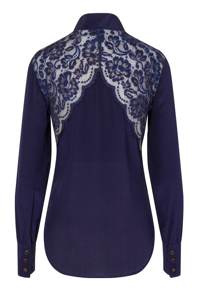 Sophie Cameron Davis-Bow Blouse Midnight- Silkarmour-3