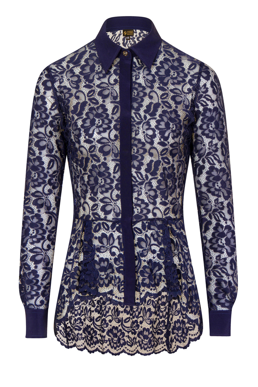 Sophie Cameron Davis-LACE SHIRT MIDNIGHT- Silkarmour-1