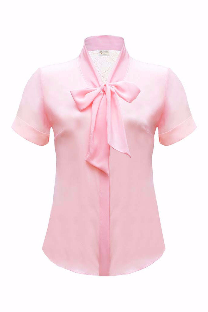 SOPHIE CAMERON DAVIES - LUXURY BUSINESS BLOUSES - PINK BOW SILK BLOUSE SHIRT  - SILKARMOUR - 1