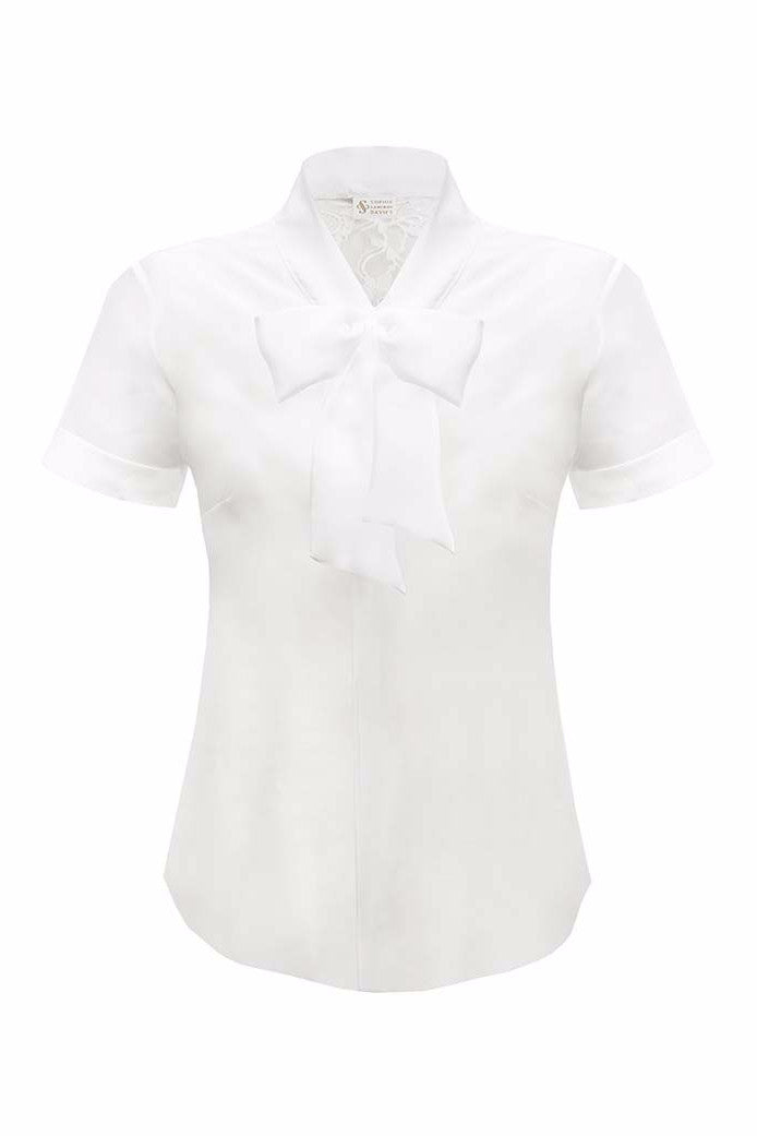 SOPHIE CAMERON DAVIES - LUXURY BUSINESS BLOUSES - WHITE PUSSY BOW BLOUSE  - SILKARMOUR - 1