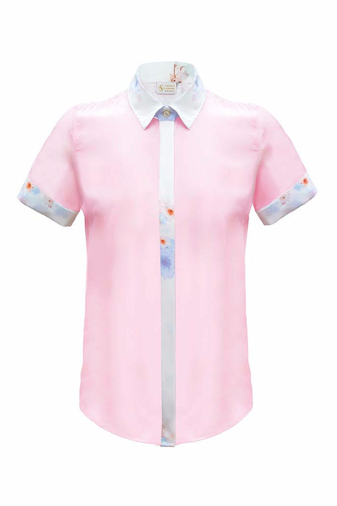 SOPHIE CAMERON DAVIES - LUXURY BUSINESS BLOUSES - PINK SILK BUSINESS SHIRT BLOUSE - SILKARMOUR - 1P
