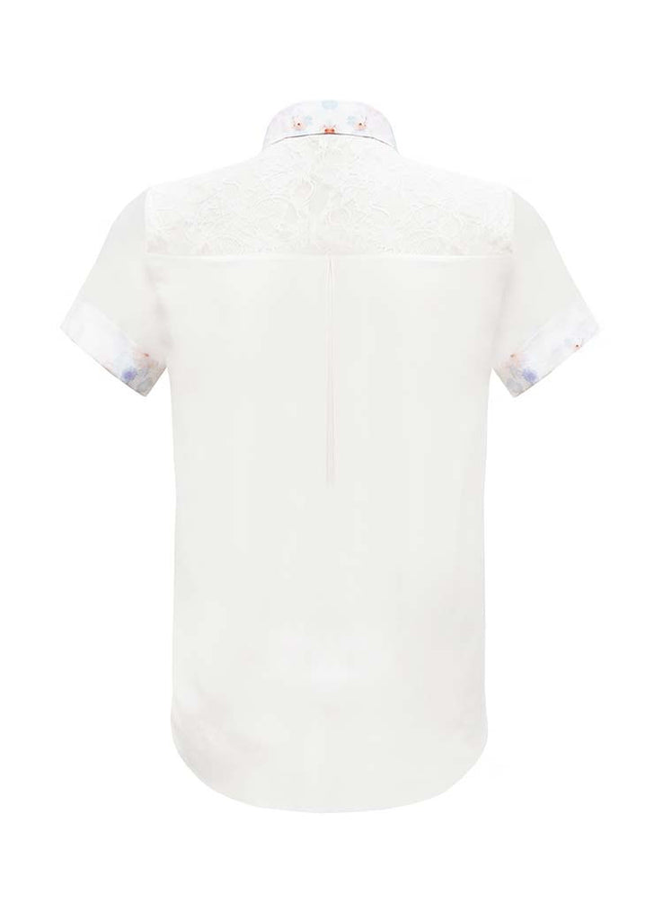 SOPHIE CAMERON DAVIES - LUXURY BUSINESS BLOUSES -CLASSIC WHITE SILK SHIRTSLEEVE SHIRT  - SILKARMOUR - 2