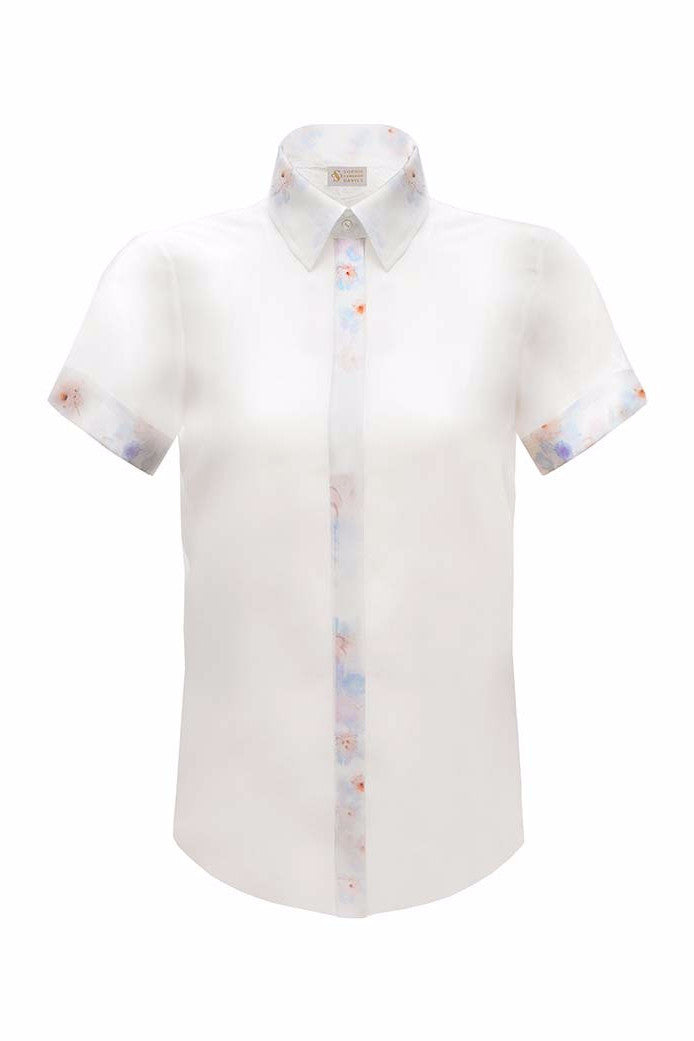 SOPHIE CAMERON DAVIES - LUXURY BUSINESS BLOUSES -CLASSIC WHITE SILK SHIRTSLEEVE SHIRT  - SILKARMOUR - 1