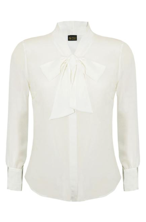 SOPHIE CAMERON DAVIES - LUXURY BUSINESS BLOUSES - BOW STYLE SILK SHIRT  - SILKARMOUR - 1