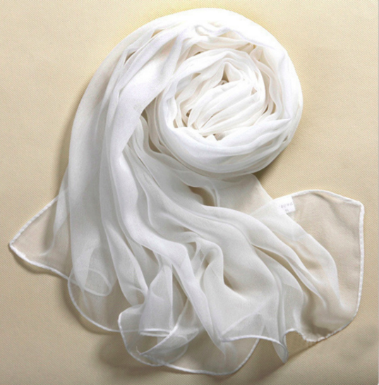 Luxuriously Soft 100% Silk White Bandana