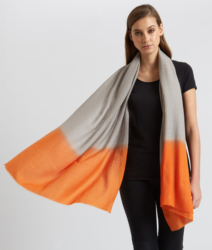 ALLEGRA LONDON - Grey - Orange Cashmere Scarf - SILKARMOUR