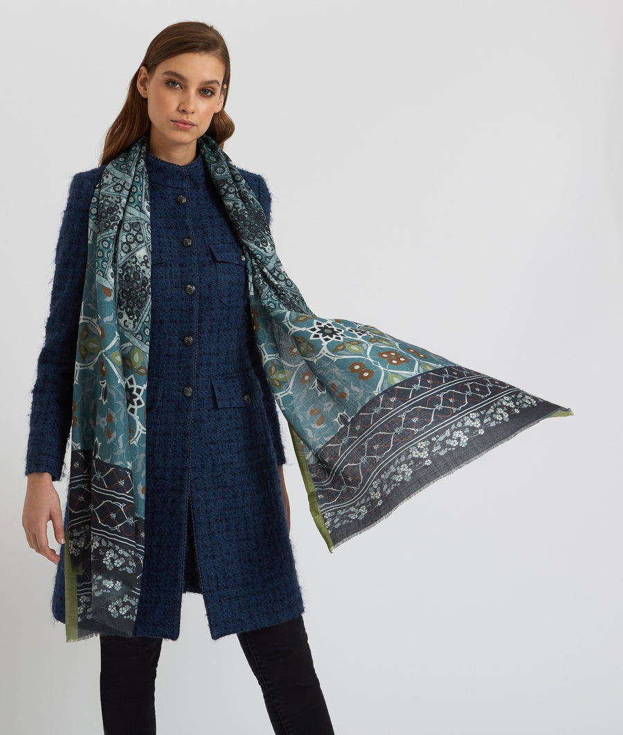 ALLEGRA LONDON - Karauli Greens Cashmere Scarf - SILKARMOUR-1
