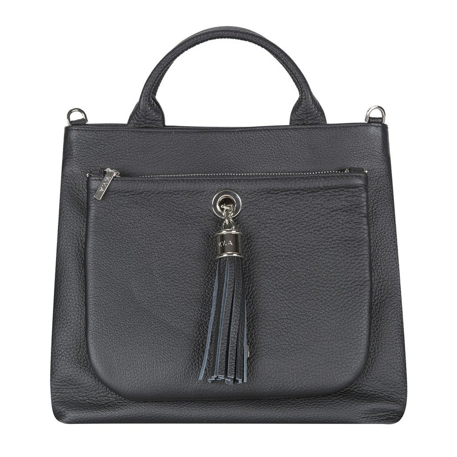 VVA- DAHLIA BLACK LEATHER TOTE HANDBAG- Silkarmour-1