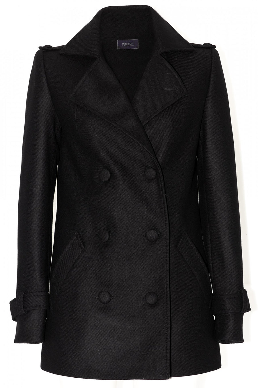 Stefanie Renoma-A WARM PEA COAT IN BLACK CASHEMERE-Silkarmour-1