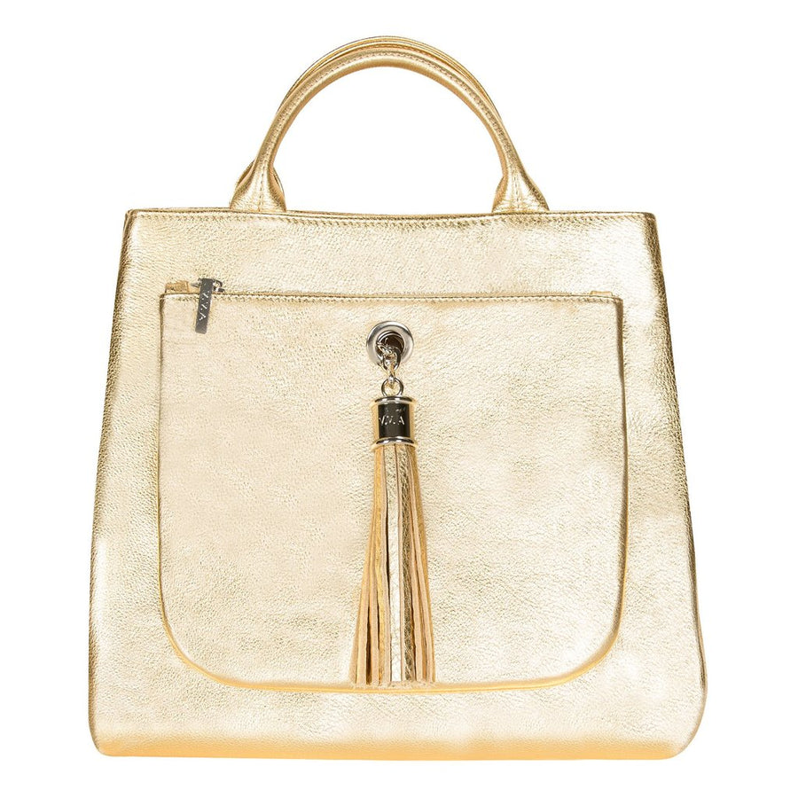 VVA-Dahlia Gold Leather Tote Handbag-Silkarmour-1