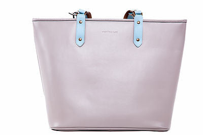 Victoria Lam- Duchess Large Leather Tote Bag-Grey Sky- Silkarmour-1