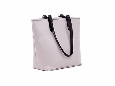 Victoria Lam- Duchess Large Leather Tote Bag-Grey Black- Silkarmour-2