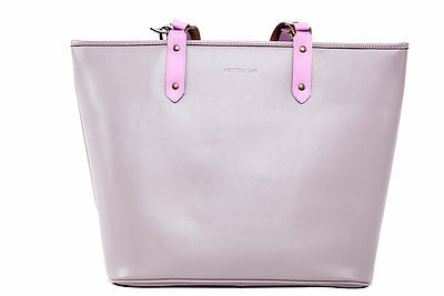 Victoria Lam- Duchess Large Leather Tote Bag-Grey Pink- Silkarmour-2