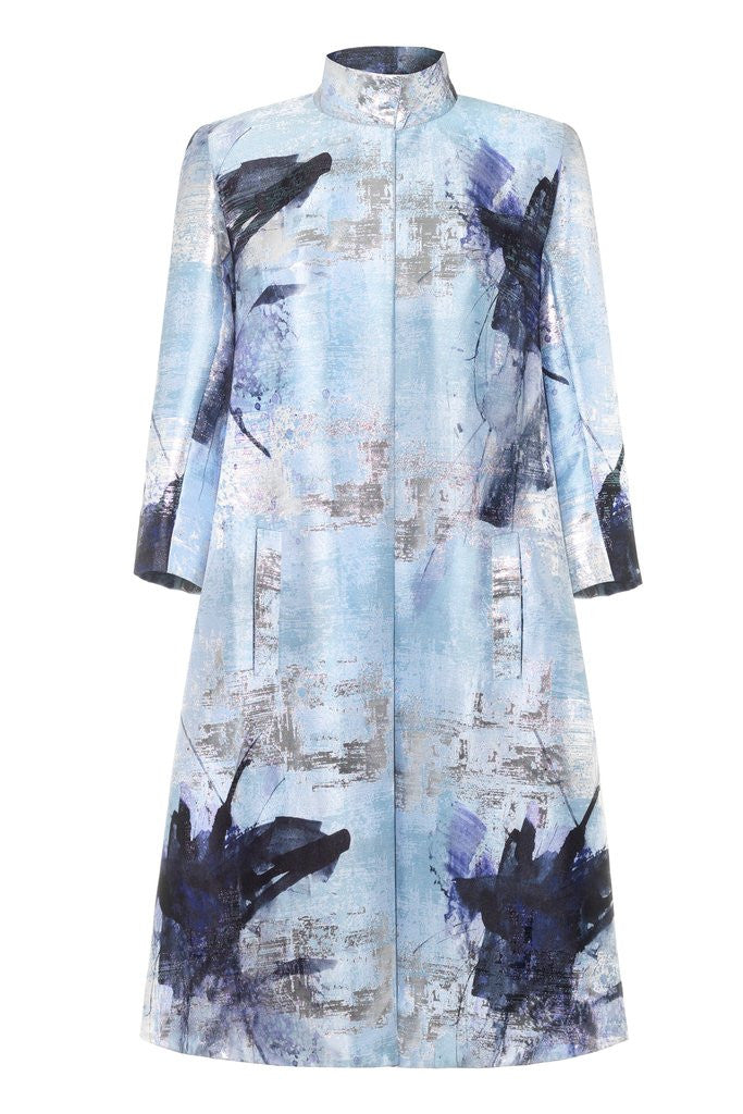 Hemyca London-Mary Lurex Jacquard Coat-Silkarmour-1