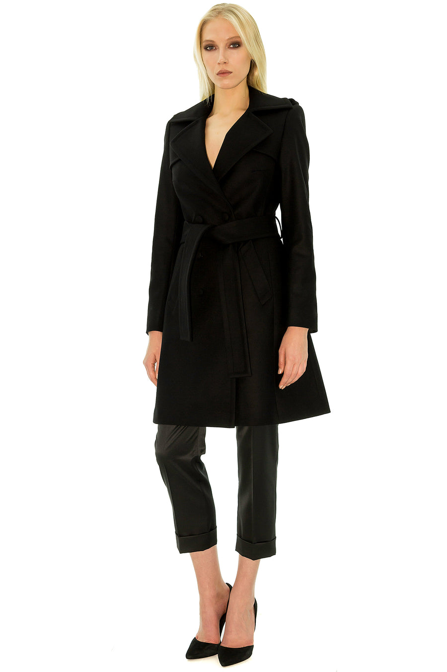 Stefanie Renoma-PERFECT BLACK COAT IN WOOL AND CASHEMERE-Silkarmour-1
