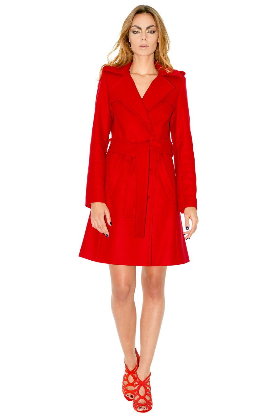 Stefanie Renoma-TO THE KNEE RED COAT IN CASHEMERE-Silkarmour-1