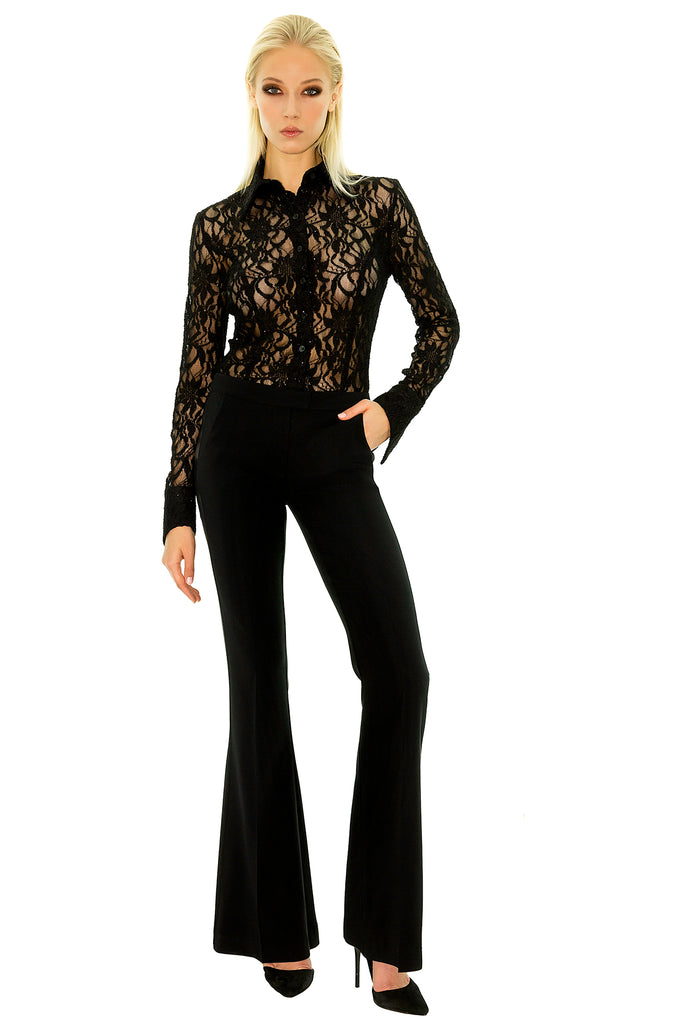 Stefanie Renoma-BLACK SMOKING PANT, LISA SPARKLE BLACK-Silkarmour-2